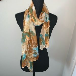 Fall silky printed scarf